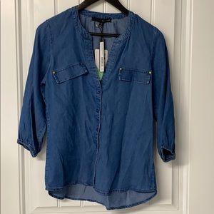 Button Up 3/4 Sleeve Jean Shirt, M